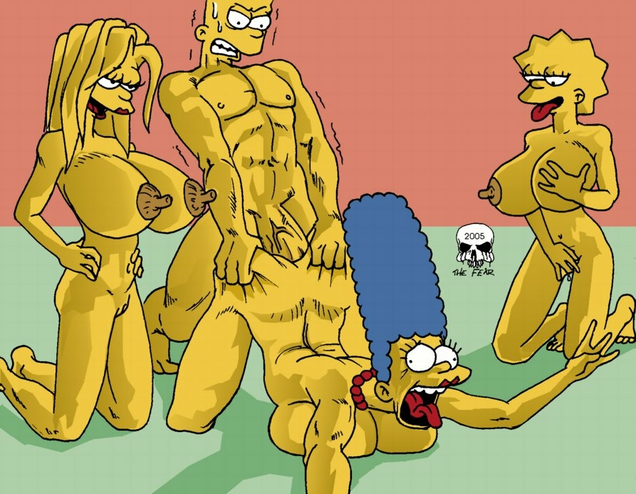 naked bart marge simpson with Tentacle all the way through gif